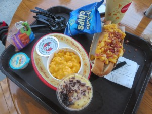 Kids' Meal Mac and Cheese, Applesauce, Carrots, Mac and Cheese Hot Dog with Truffle Oil, Chips, Banana Parfait - Fairfax Fare