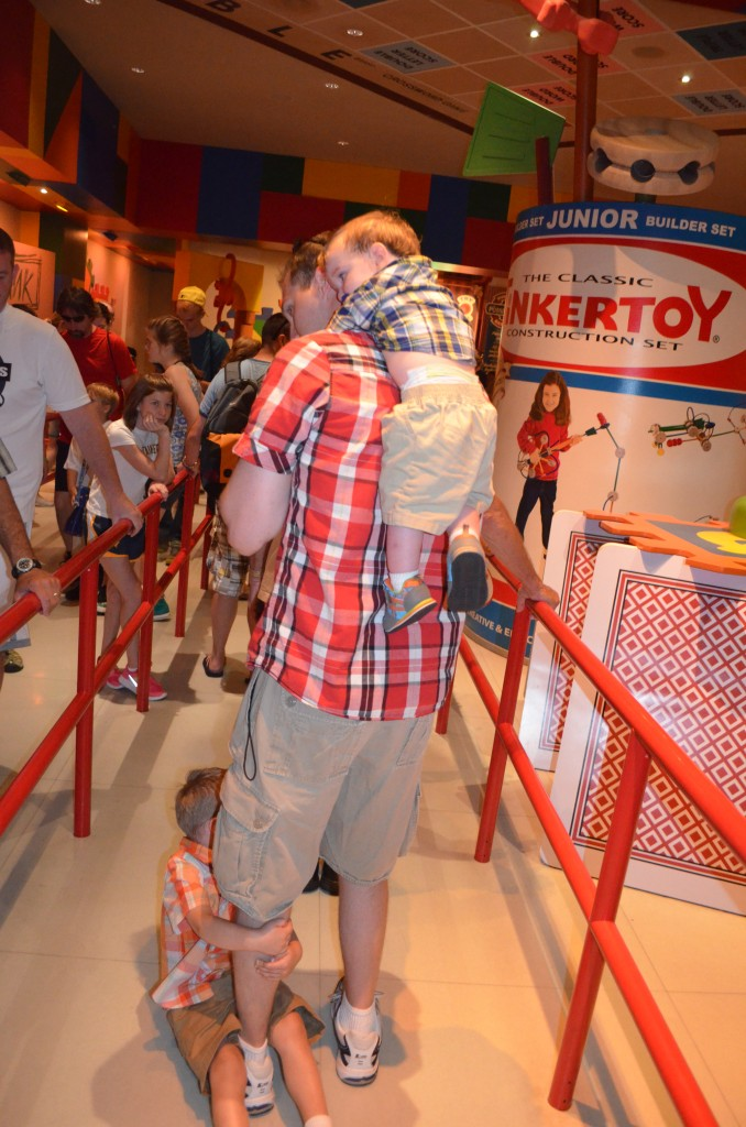 Giving the kids a ride through the long Toy Story Mania line