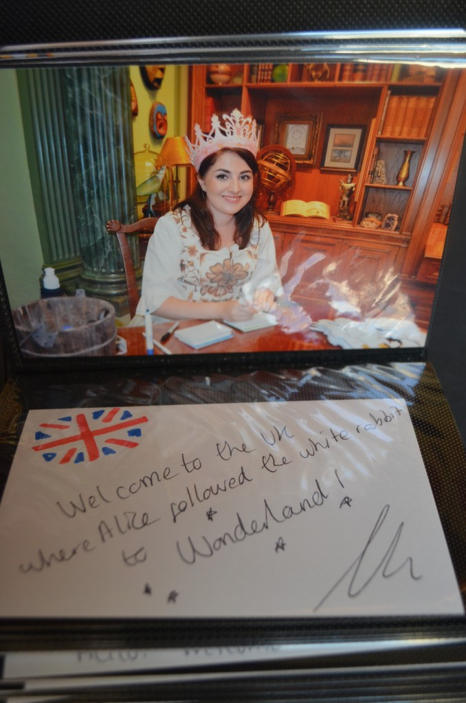 No need to translate this cute message: Welcome to the UK, where Alice followed the White Rabbit to Wonderland!