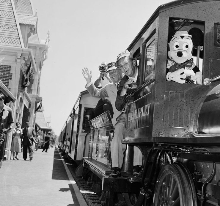 Walt and Mickey ride the train Image Credit: Water and Power