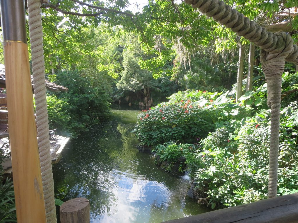 Beautiful surroundings make this Adventureland attraction look like it's in a jungle.